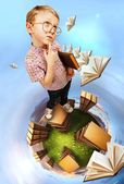 On the planet of book — Stock Photo