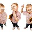 Three images cute pupil boy — Stock Photo