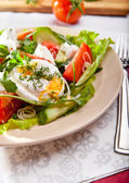 Light salad with pouched egg — Zdjęcie stockowe
