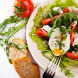 Light spring salad with poached egg — Stock Photo