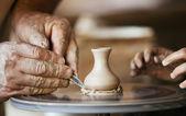 Closeup image ceramist man hands — Stock Photo