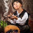Little Aladdin with lamp — Stock Photo