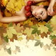 Perfect autumn beauty girl — Stock Photo