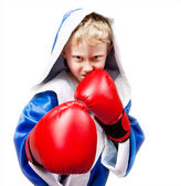 Boxing boy on white background — Stock Photo