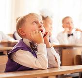 Little pupil boy at school — Stock Photo