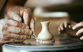 Closeup image ceramist man hands — Stock Photo