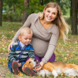 Family walk with pet in autumn park — Stock Photo