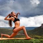 Yoga practice outdoor — Stock Photo