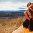 Stock Photo: Flexible girl make yogexercise in mountain