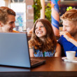 Teens friends spend time together in cafe — Stock Photo #33724291