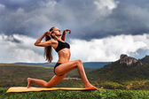 Yoga practice outdoor — Stock Photo