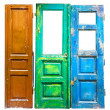 Stock Photo: Three colored old wooden doors