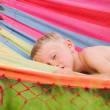 Little boy in hammock — Stok fotoğraf