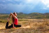 Outdoor yoga practice — Stock Photo