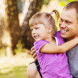 Father with daughter outdoor portrait — Stock Photo