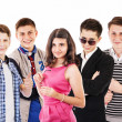 Group of cheerful teenagers — Stock Photo