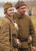 Members of Historical reenactment battle for liberation — Stock Photo