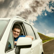 Man driving his car — Stock Photo