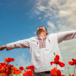 Man in poppies field  — 图库照片