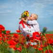 In poppies field — Stock Photo
