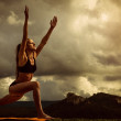 Stock Photo: Sun Salutation yoga pose sequence