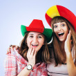Two happy screaming girls - football fans — Stock Photo