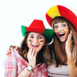 Two happy screaming girls - football fans — Stock Photo #38762677