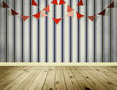 Wallpaper background with pennants festoon — Stock Photo