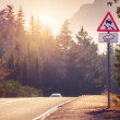 Stock Photo: Mountain tortuous road in sunset time