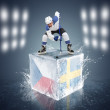 Hockey player on the cube with Czech Republic and Norway flags — Stock Photo #40072145