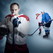 Stock Photo: Ice hockey game moment