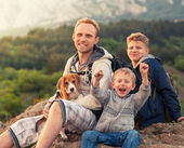 Happy family outdoor portrait — Stock Photo