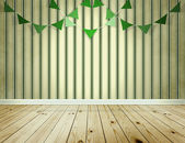 Stripe wallpaper background with green pennants festoon — Stock Photo