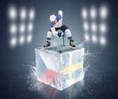 Hockey player on the cube with Czech Republic and Norway flags — Stock Photo