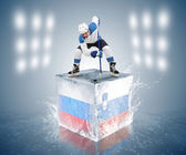 Russian Slovenia hockey game — Stock Photo