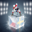 Stock Photo: Czech Republic - Sweden game. Face-off player on ice cube.