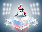 Russia - Slovakia game. Face-off player on the ice cube. — Stock Photo