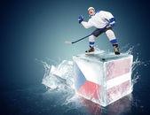 Czech republic - Latvia game. Spunky hockey player on ice cube — Stock Photo