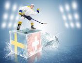 Szwecja - Szwajcaria gry. odważny hokeista na kostki lodu — Zdjęcie stockowe