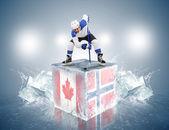 Match canada-norvège. joueur de s'affronter sur le cube de glace — Photo