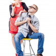 Housewife with her husband — Stock Photo