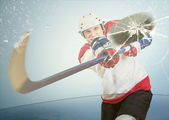 Ice hockey puck hit the opponent visor — Stock Photo