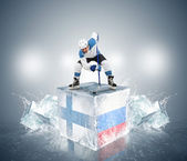 Finland - Russia QuaterFinal game. — Stock Photo