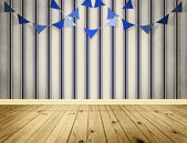 Light blue background with blue pennants festoon — Stock Photo