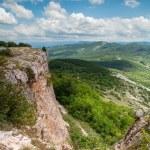 View from mountain tableland. Mangup Kale, Crimea, Ukraine — Stock Photo #43510897
