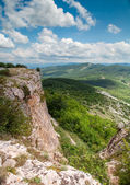 View from mountain tableland. Mangup Kale, Crimea, Ukraine — Stock Photo