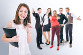 Happy students group — Stock Photo