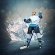 Hockey player portrait on abstract ice background — Stock Photo #46350205