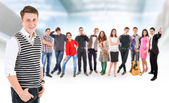 Teenage friends big group — Stock Photo