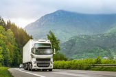 Truck on highway in the highlands — Stock Photo